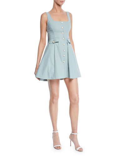 Nena Square-Neck Button-Front Short Dress