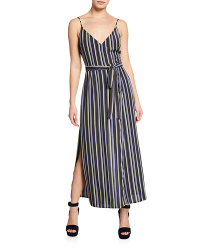 Frances Striped V-Neck Sleeveless Maxi Dress