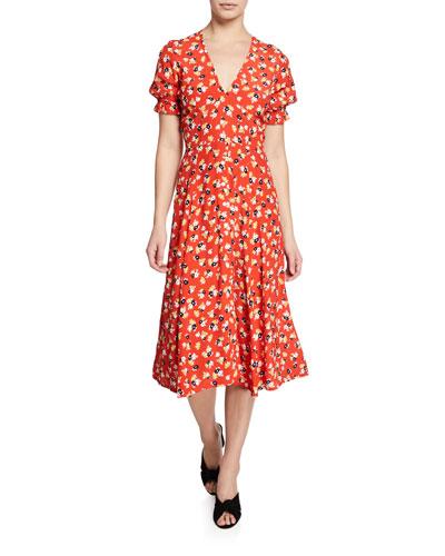 185ee2d4e8a Quick Look. Faithfull the Brand · Ari Floral-Print V-Neck Short-Sleeve Midi  Dress