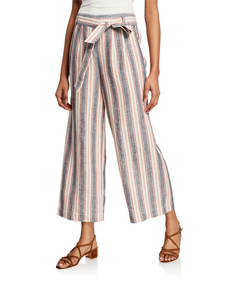 FRAME Striped Clean Linen Pants