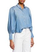 FRAME Bishop-Sleeve Button-Down Cinched Denim Shirt