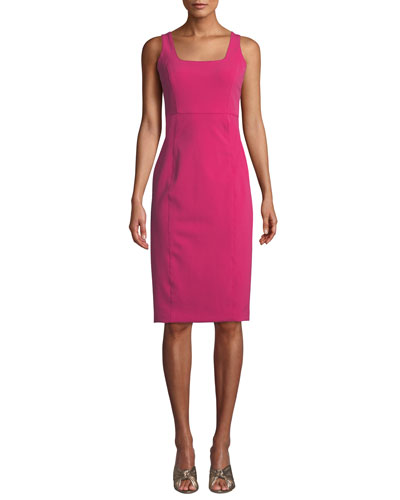 Cattleya Square-Neck Sleeveless Sheath Dress