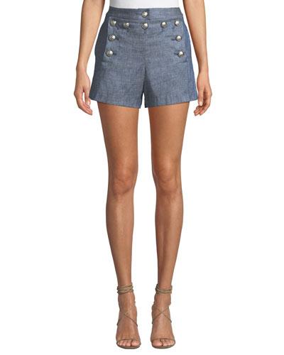 Hoya Viscose-Linen High-Waist Shorts