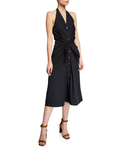 Disa Ruched Button-Front Halter Dress
