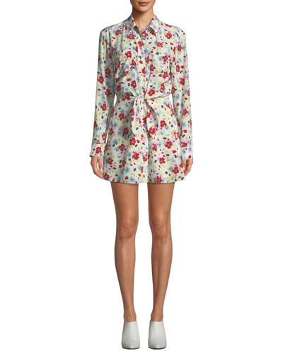 Quince Floral-Print Tie-Front Shirt Dress