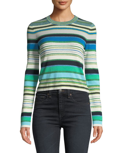 Palma Striped Metallic Cropped Sweater