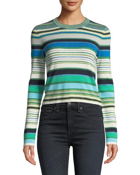 Veronica Beard Palma Striped Metallic Cropped Sweater
