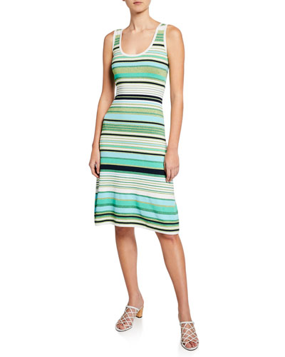 Dulce Striped Scoop-Neck Sleeveless Dress
