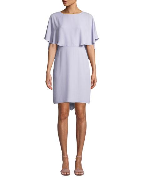 Halston Cape-Sleeve Draped-Back Georgette Cocktail Dress