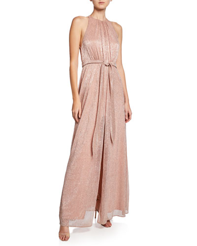 High-Neck Sleeveless Metallic Knit Gown with Strappy-Back