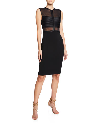Sleeveless High-Neck Dress with Strip Detail