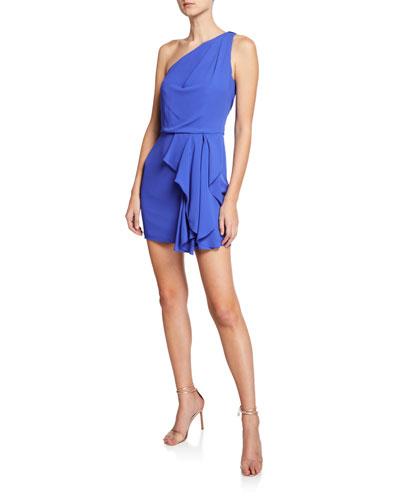 7b202a9f121ef Quick Look. Halston Heritage · One-Shoulder Drape-Front Mini Dress
