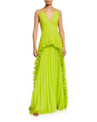 Halston Heritage Pleated Halter Gown with Ruffled Trim