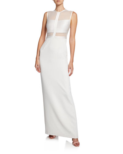 White Polyester Gown Neiman Marcus