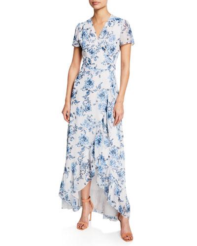 The Natasha Cap-Sleeve Wrap Maxi Dress
