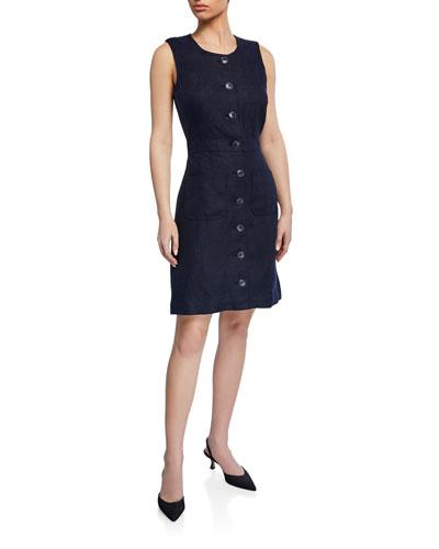 Button-Front Sleeveless Linen Shift Dress
