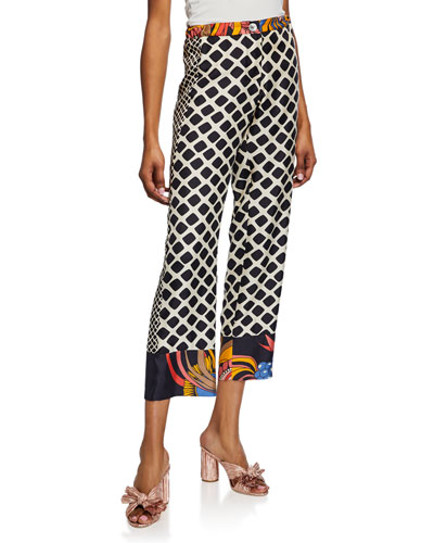 Riviera Print Trimmed Ankle Pants