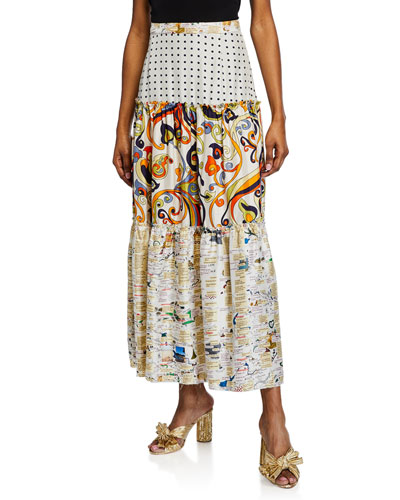 Elizabeth Textos Tiered Mix Print Skirt