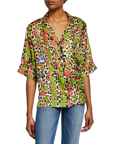 Text Panthere Short-Sleeve Button-Front Hawaii Shirt