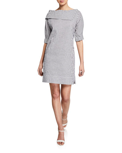 Spectator Stripe Portrait Collar Dress