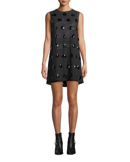 McQ Alexander McQueen Embellished Sleeveless Mini Shift Dress