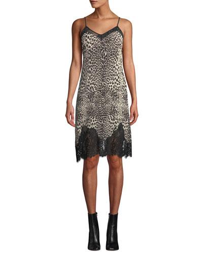 Lace Panel Animal-Print Slip Dress