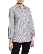Finley Mercy Spectator-Stripe Button-Down Shirt with Arm Detail