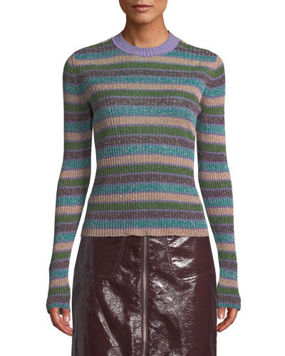 Metallic Striped Ribbed Sweater