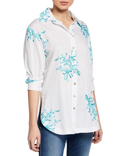 Coral Reef Printed Poplin Boyfriend Shirt