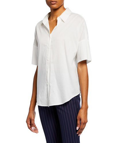 Short-Sleeve Cotton Button-Up Top