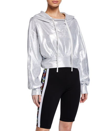 Wahi Hooded Metallic Pullover Sweatshirt
