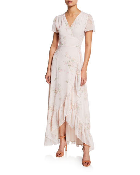 WAYF The Natasha Cap-Sleeve Floral Wrap Maxi Dress