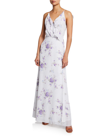 WAYF The Jamie Floral-Print Lace-Up Maxi Dress