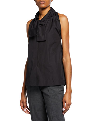 Snap-Front Sleeveless Poplin Tie-Neck Top
