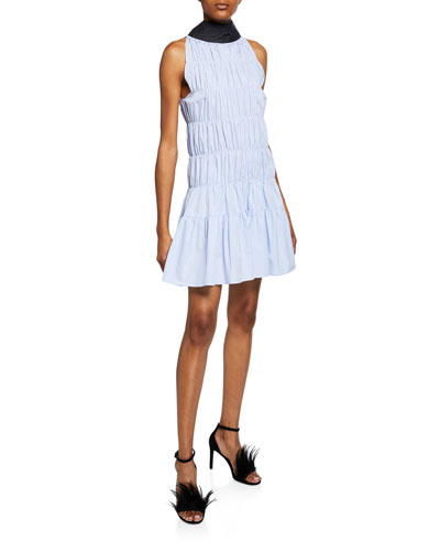 Smocked Poplin High-Neck Sleeveless Dress