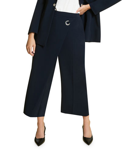 Plus Size Recinto High-Rise Culottes w/ Drape Front Detail