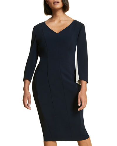 Plus Size Dentro Colorblock V-Neck Dress with Side Panel