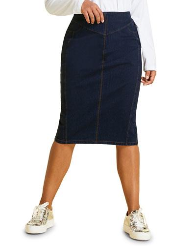 Caorle Denim Jersey Skirt, Plus Size
