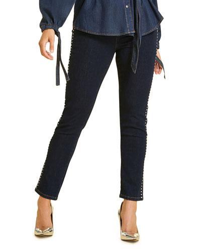 Plus Size Idioma Studded Skinny Jeans