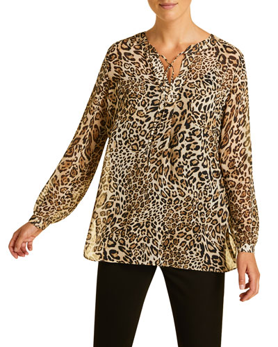 Plus Size Fastigio Animal-Print Shirt