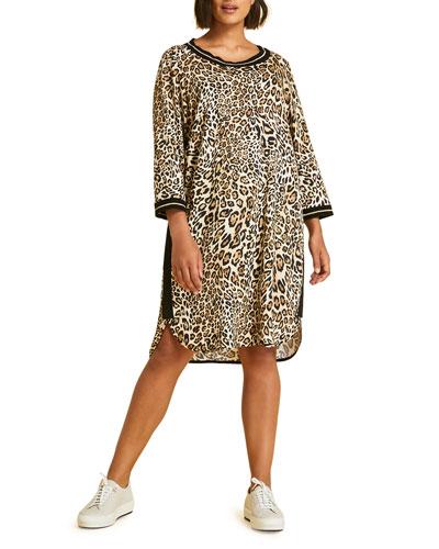 Plus Size Damasco Animal-Print 3/4-Sleeve Tunic Dress