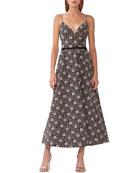 ML Monique Lhuillier Floral Jacquard Midi Dress