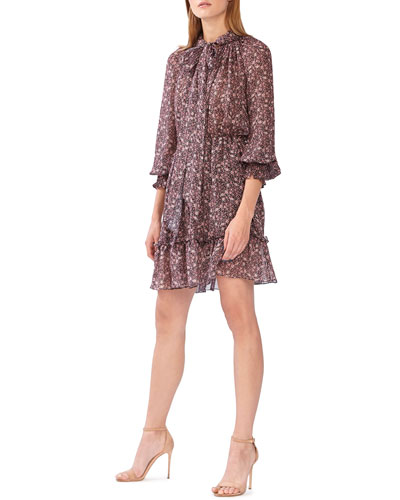 Floral Print Tie Neck Long-Sleeve Dress