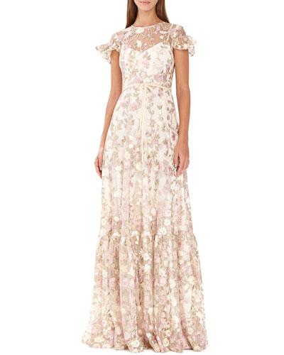 Floral-Embroidered Short-Sleeve Mesh Dress