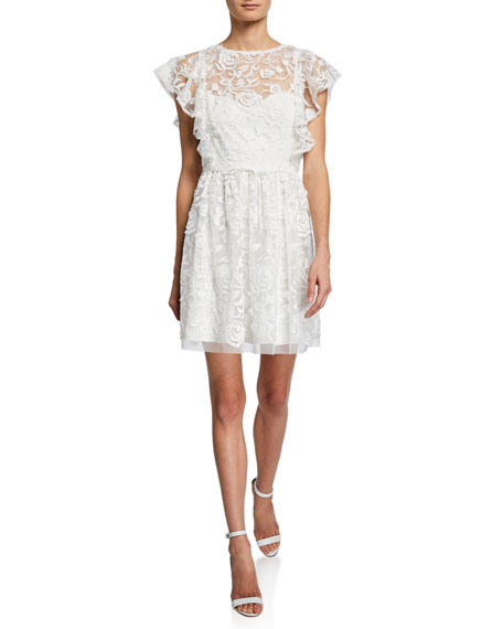 ML Monique Lhuillier Lace Illusion Flutter-Sleeve Dress