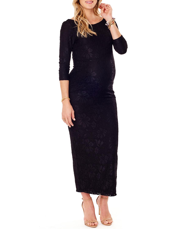 Maternity Stretch-Lace Boat-Neck 3/4-Sleeve Column Dress