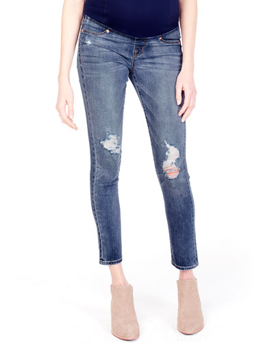 Maternity Sasha Distressed Denim Skinny-Leg Jeans w/ Crossover Panel