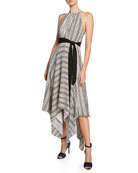 Halston Striped Halter Handkerchief Dress w/ Strappy Back