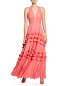 Halston V-Neck Sleeveless Pleated Gown with Smocked Ruffle