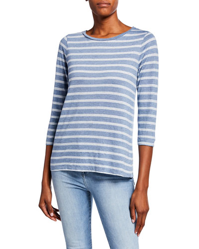 124d451fa1 Quick Look. Majestic · Striped Boat-Neck 3/4-Sleeve Boxy Top